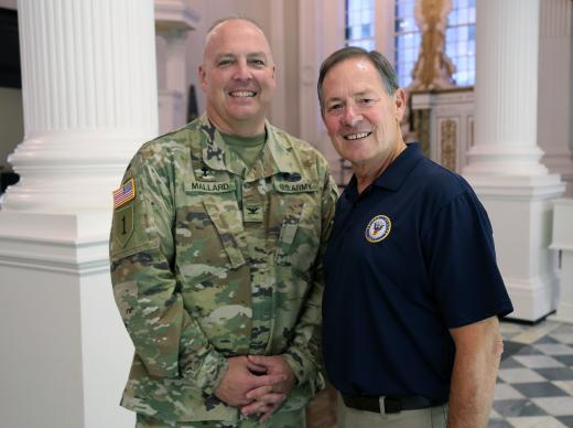 """Army chaplain Col. Timothy Mallard reunites with Capt. Doug Waite, a United Methodist and retired Navy chaplain, during the taping of """"We'll Meet Again,"""" episode """"Heroes of 9/11,"""" airing Feb. 13 on PBS. Photo courtesy of Simon Harries/Blink Films."""