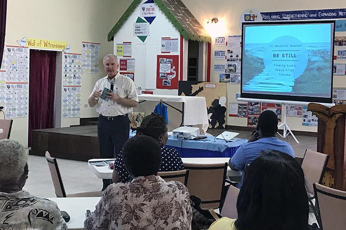 The Rev. Stephen Bryant, publisher at Upper Room Ministries, speaks during a devotional-writing workshop in St. Martin. The workshop was part of a three-day retreat hosted by the agency, Nov. 30-Dec, 2, 2017, that encouraged people to process their trauma from Hurricane Irma's devastation. Photo courtesy of Upper Room Ministries.