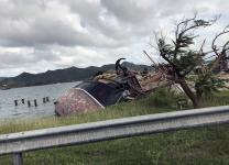An anchor stands atop a wrecked boat after Hurricane Irma demolished St. Martin. Upper Room Ministries sponsored a devotional-writing workshop on the island during a three-day retreat to help participants express their trauma after the September 2017 disaster. Photo courtesy of Upper Room Ministries.