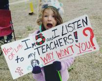 Tess Junger, a student at Monroe Elementary, Oklahoma City, participates in a demonstration of support for the teachers asking for better wages and conditions. Photo courtesy of Whiney White Junger.