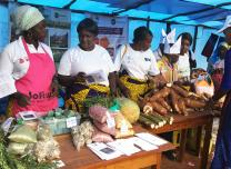 Women in Bukavu, Democratic Republic of Congo, display their wares at an event to celebrate International Women's Day on March 8, 2018. The United Methodist Church in the DRC said investing in women, especially those in rural areas, will be a priority in 2018. Photo by Philippe Kituka Lolonga, UMNS.