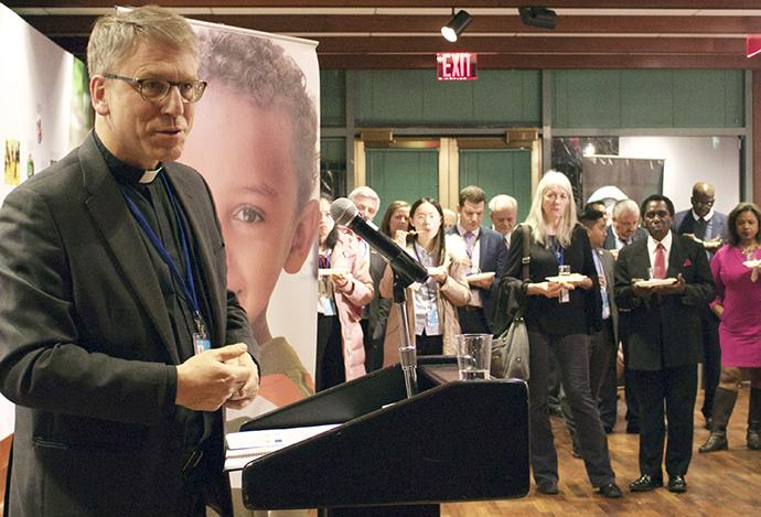 Speaking at a reception hosted by UNICEF on 22 January, the Rev. Olav Fykse Tveit, top executive, World Council of Churches, offered an ecumenical vision on migration, inclusion and justice. Photo by Marcelo Schneider, courtesy of WCC.