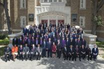United Methodist bishops pose for a group photo in May 2017 on the steps of First United Methodist Church in Dallas. Photo by Maidstone Mulenga, Council of Bishops.