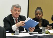 "The Rev. William B. Lawrence served as president of the United Methodist Judicial Council, and is seen here, with Angela Brown, at a 2012 council hearing. Lawrence, also former dean of Perkins School of Theology, is the author of the new book ""A Methodist Requiem: Words of Hope and Resurrection for the Church."" UMNS file photo."