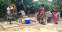 The Tudikwashi Health Care Project, an organization directed by United Methodist missionary Betty Tchala, sunk six water boreholes with washing sinks and public toilets in the Mwaiseni Community in the Kitwe District of Zambia. Photo by John Chikuta, UMNS.