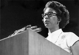 Barbara Thompson speaks during the General Conference held in Portland in 1976. A UMNS file photo courtesy of The Commission on Archives and History. Accompanies UMNS story # 139. 3/9/10.