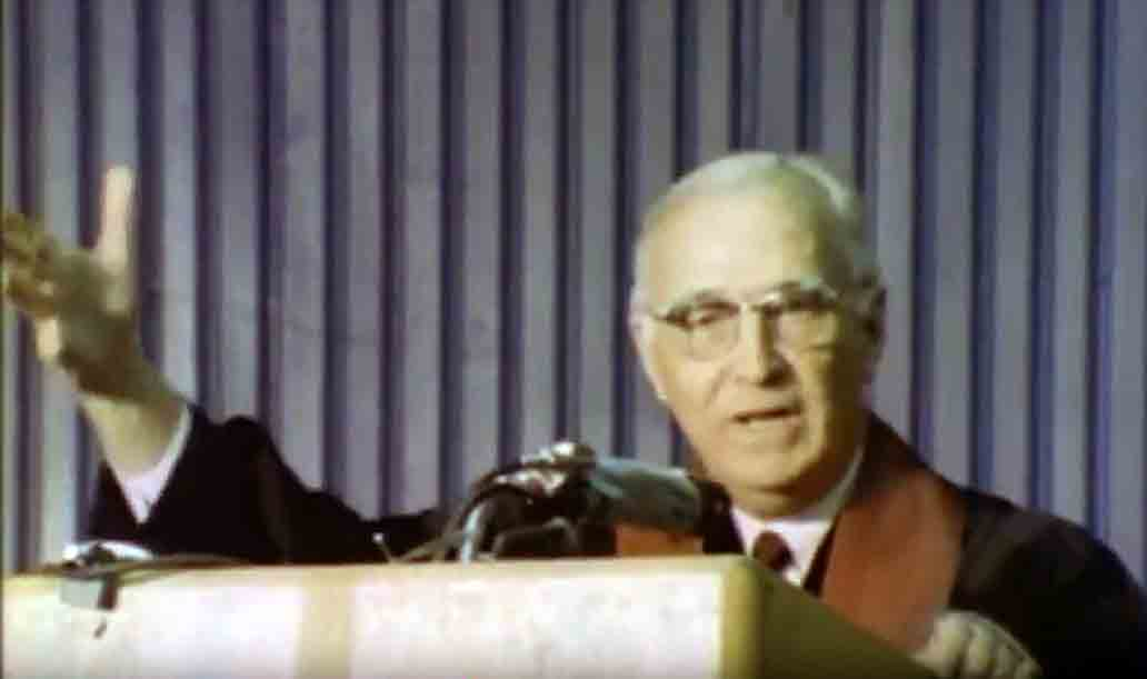 The Rev. Albert C. Outler preaches during the April 23, 1968, uniting service of the Uniting Conference, in Dallas. Outler, a renowned professor at Perkins School of Theology, spoke just before the official creation of The United Methodist Church from union of the Methodist Church and Evangelical United Brethren Church. Video image courtesy of United Methodist Communications.
