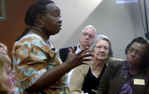 Beatrice Gbanga, a United Methodist health worker and missionary in Sierra Leone, gave a briefing on the Ebola crisis Monday to clergy and laity at the North Texas Conference headquarters in Plano, Texas. Photo by Sam Hodges, UMNS