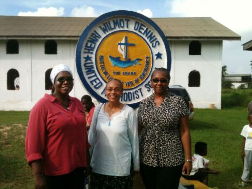 The General Board of Global Ministries' assigned missionaries now working in Liberia (from left) are Priscilla Jaiah, Helen Evans-Roberts, and Mary Zigbuo. Photo by Julu Swen, UMNS