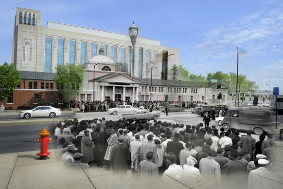 Thousands of Negroes jam the sidewalks outside Nashville city court where Negro and white students are tried on charges stemming from lunch counter demonstrations at five downtown stores. Many of the Negroes sang spirituals as they awaited news of the trials. Police estimated the crowd at 2000.