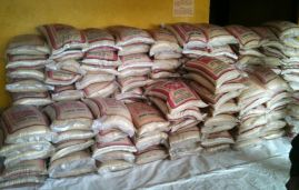 The stock of rice before the distribution at the Henri Wilmot Dennis United Methodist School. Photo by Julu Swen, UMNS.