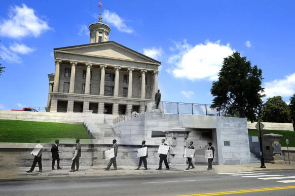 A group of 18 Negroes and whites picket the State Capitol and try to see Gov. Buford Ellington to seek reinstatement of 14