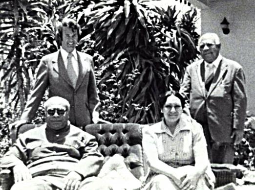 The Rev. H. Eddie Fox (left, rear) poses with King Tāufaʻāhau Tupou IV and Queen Halaevalu Mataʻaho ʻAhomeʻe of Tonga (seated) in 1975. Photo courtesy of the Rev. H. Eddie Fox