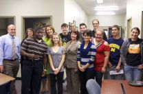 Staff and first generation students get together during the Academic Services Fall Open House at Adrian College.