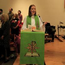 Pastor Jenny Smith preaches in Oct. 2012 at St. John's UMC in Anchorage, Alaska. Courtesy: St. John's UMC.