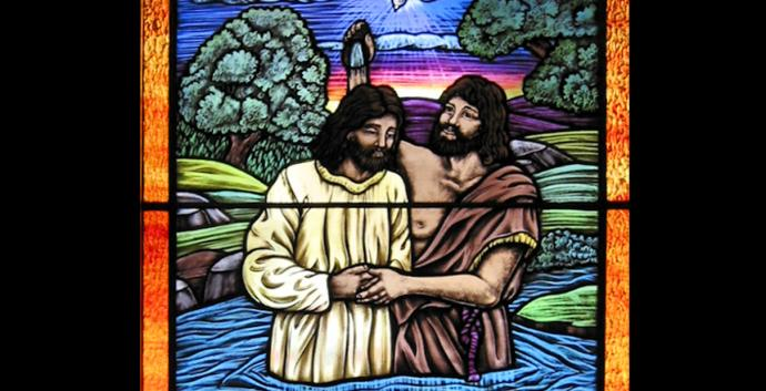 Stained glass image depicts Baptism of the Lord by John the Baptist. Courtesy of Creative Commons: Avondale.