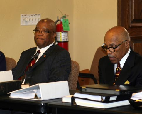 Bishop W. Earl Bledsoe (left) and his advocate, the Rev. Zan Holmes Jr., a retired pastor, before the start of Bledsoe's hearing with the South Central Jurisdiction Episcopacy Committee.