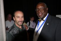 Singer Lee Greenwood stands with Bishop James Swanson Sr. at the Duty to God breakfast held in Nashville, Tenn.  Photo by Rich Peck, UMNS.