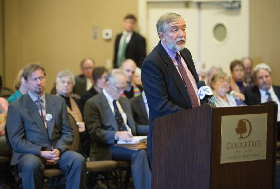 The Rev. Scott Campbell addresses the Judicial Council on behalf of the Rev. Frank Schaefer (left), during the Oct. 22 hearing on Schafer's case. Photo by Mike DuBose, UMNS.