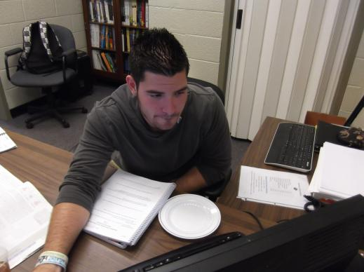 First generation student Chris Liberati studies at Adrian College.