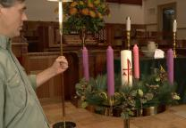 Chuck Knows Church lights and Advent Wreath and talks about the significance of each candle.