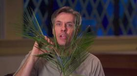 Josh Childs, as Chuck, explains the tradition of Palm Sunday.  Video image courtesy of United Methodist Discipleship Ministries