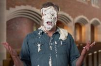 Chuck Knows Church takes a pie in the face while talking about piety and mercy.