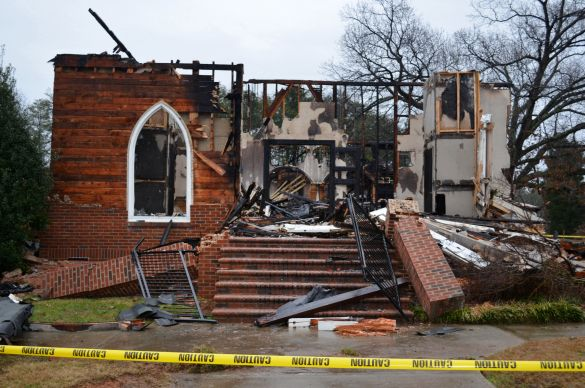 A Dec. 22, 2012, fire destroyed the sanctuary, office area and part of the fellowship hall of Gideon Grove United Methodist Church, Stokesdale, N.C. Photo by the Rev. Nancy Rankin.