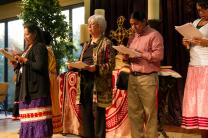 Tribal members from Oklahoma participate in readings (skits) that explain challenges facing indigenous peoples during the Act of Repentance service at the Council of Bishops meeting in Oklahoma City. Photo by Ginny Underwood, UMNS