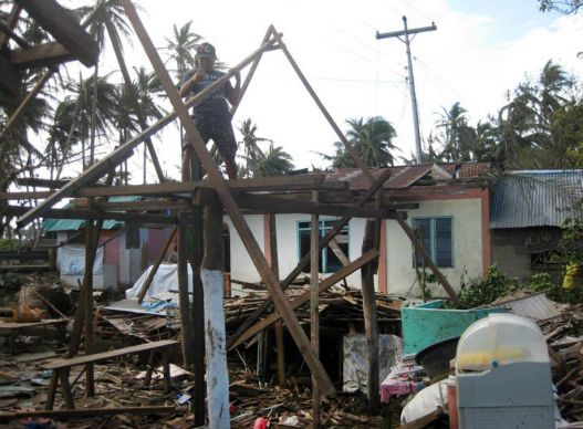 Typhoon Hagupit damaged this home in Taft in the province of Eastern Samar. The typhoon, which made landfall in the Philippines on Dec. 6, is also known in the Philippines as Ruby. Photo by Marlon Paano Lasaca