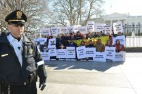 United Methodist faith leaders, other faith groups, labor leaders and immigrants face arrest after a prayer vigil at the White House in support of progress on immigration reform and an end to deportations. Washington, DC, on Feb. 17.