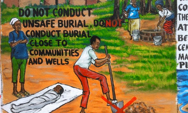 The importance of not adhering to traditional burial rituals protects family members from spreading the Ebola virus. Liberia has incorporated the visual arts in mural form in order to communicate information about Ebola.