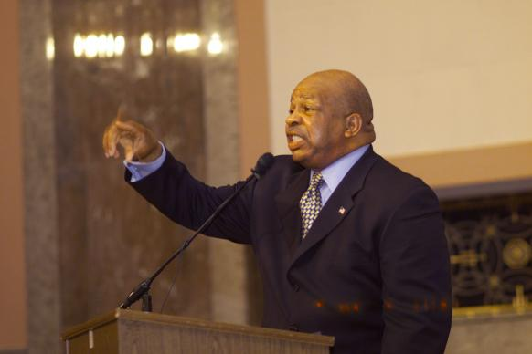 U.S. Rep. Elijah Cummings (D-Md.) addresses the United Methodist Council of Bishops in the Dirksen Senate Office Building in Washington. Photo by Mike DuBose, UMNS