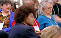 The Rev. Pamela James (center) listens along with other United Methodist clergy and laity during the Faith and Guns Forum put on in Washington by the United Methodist Board of Church and Society. Photo courtesy Church and Society.