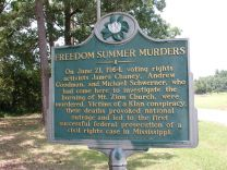 Photo taken in 2012 shows state history marker at Mt. Zion Methodist Church in Neshoba County, Mississippi.
