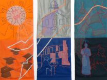One of the panels in a quilt at the United Methodist Commission on Archives and History depicts two women in a reflective pose, representing the struggle of women for representation and ordination. Photo courtesy of the United Methodist Commission on Archives and History