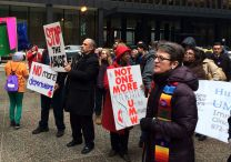United Methodist Bishop Sally Dyck, Chicago, joins other faith leaders in a March 27, 2014 rally and protest calling upon President Obama to stop deportations of undocumented people. Photo by Michael Vollmer, UMNS.