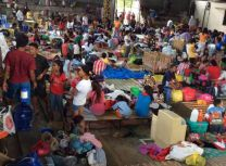 Evacuation preparation takes place in a gymnasium in Isabel Leyte, Philippines, an area of high risk. Photo courtesy of Sharon Aradanas