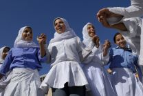 Girls exercise in the physical education class at Al-Zaytoon School, located in the Jabalyia Refugee Camp in the war-torn Gaza Strip, in 2006. File Photo by Paul Jeffrey.