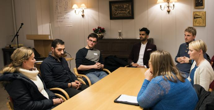 Norwegian United Methodist and Muslim young adults from the Tauheed Mosque shared experiences of how it is to be religious in a secular society during a December meeting in Oslo. Photo by Karl Anders Ellingsen, UMC Norway