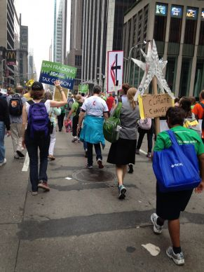 United Methodists are among the marchers on Sixth Avenue in midtown Manhattan for the Peoples Climate March Sept. 21. Estimates of the number of participants ranged between 300,000 to 400,000. Photo by Linda Bloom, UMNS