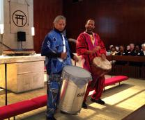 Victor See Yen, left, and Ron McBee of Heritage O.P., an acoustic percussion and vocal ensemble, drum for peace during a symposium Sept. 19 at the Church Center for the United Nations. Photo by Linda Bloom, UMNS.