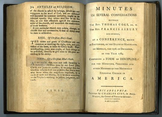 """""""Minutes of Several Conversations Between the Rev. Thomas Coke, The Rev. Francis Asbury and Others."""" The first Book of Discipline was adopted in 1784 at the historic Christmas Conference. Photo courtesy of Bridwell Library Special Collections, Perkins School of Theology, Southern Methodist University."""