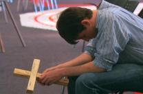 A young man participates in Stations of the Cross at Brentwood United Methodist Church near Nashville, Tennessee.