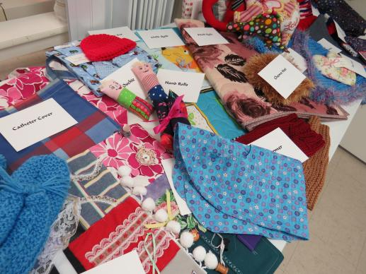 The Women's Fellowship of Poetry United Methodist Church makes a variety of cloth comfort items, distributed to hospice, nursing homes, children's hospital wards and other places of need. UMNS photo by Sam Hodges
