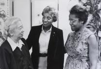 In this 1979 photo, Hoover (right) and Mai Gray (center), president of the Women's Division, greeted Lee Tae-young, affiliated with Ewha University in South Korea.