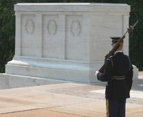 Tomb of the Unknown Soldier at Arlington National Cemetery, U.S. Photo by dbking, courtesy of Wikimedia Commons. Edited from original.