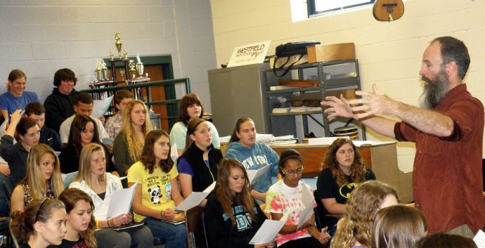 Kent Knappenberger, who recently won the first Grammy for a music educator, works with his students in upstate New York. He has the majority of kids at Westfield Academy and Central School, in Westfield, N.Y., involved in studying and especially making music.