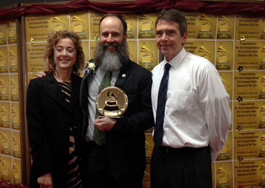 More than 30,000 teachers from all 50 states were nominated for the first Grammy given to a music educator. Kent Knappenberger, seen with Westfield Academy and Central School superintendent David Davison and secondary principal Ivana Hite, got the prize.