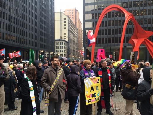 More than 200 people, including United Methodist Bishop Sally Dyck and United Methodists clergy and laity participated in a rally March 27 in downtown Chicago calling for an end to deportations. Photo by Michael Vollmer, UMNS